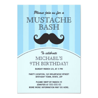 Blue mustache bash birthday party card