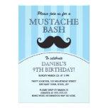 Blue mustache bash birthday party invitation