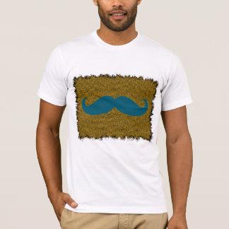 Blue Mustache on leopard skin T-Shirt