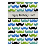 Blue Mustache pattern - Happy Birthday Dad Greeting Card