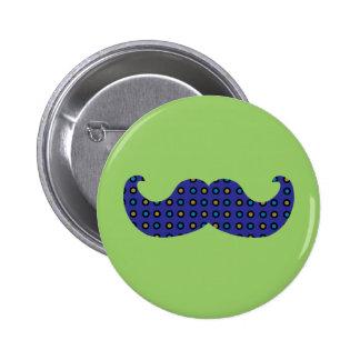 Blue Mustache Pinback Button