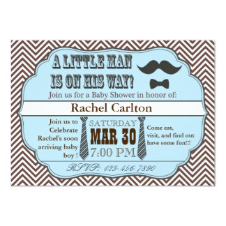"Blue Mustache & Ties Baby Shower Invitations 5"" X 7"" Invitation Card"