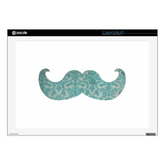 Blue Mustache - Vintage Damask Decal For Laptop