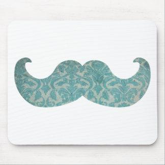 Blue Mustache - Vintage Damask Mouse Pad