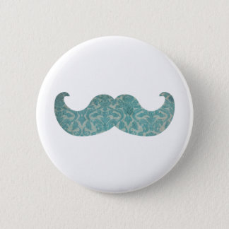 Blue Mustache - Vintage Damask Pinback Button