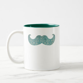 Blue Mustache - Vintage Damask Two-Tone Coffee Mug