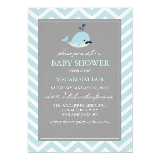 blue mustache whale boy baby shower invitation zazzle