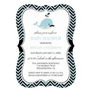 Blue Mustache Whale Chevron Boy Baby Shower 5x7 Paper Invitation Card