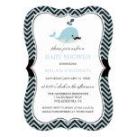 Blue Mustache Whale Chevron Boy Baby Shower Card