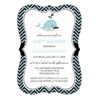 Blue Mustache Whale Chevron Boy Baby Shower Card