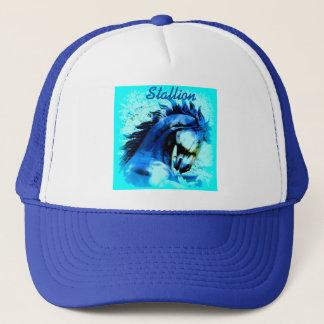 blue mustang stallion trucker hat