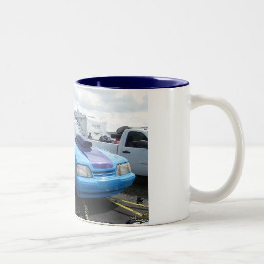Blue Mustang Two-Tone Coffee Mug