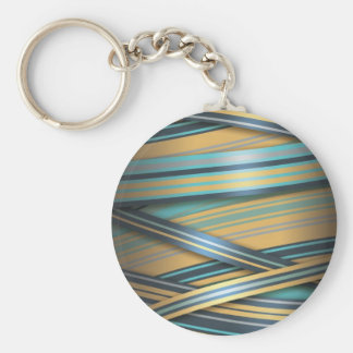 Blue Mustard abstract lines Basic Round Button Keychain