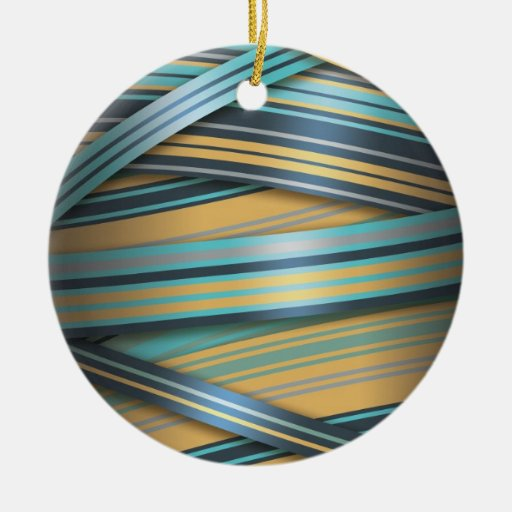 Blue Mustard abstract lines Ceramic Ornament