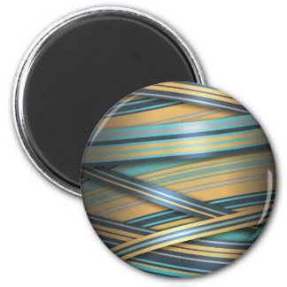 Blue Mustard abstract lines Magnet