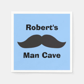 Blue n Black Mustache Man Cave Paper Napkin