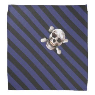 Blue 'n Black Pirate Stripes w' Skull & Crossbones Bandana