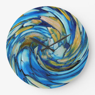 Blue N Gold Dolphin vs Eagle Abstract Wall Clock