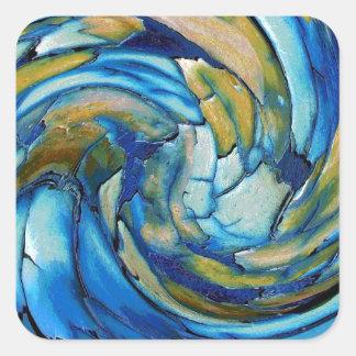 Blue N Gold Dolphin vs Eagle Square Sticker