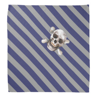 Blue 'n Gray Pirate Stripes w' Skull & Crossbones Bandana
