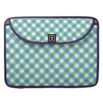 Blue n Green Gingham Pattern Checkered MacBook Pro Sleeve