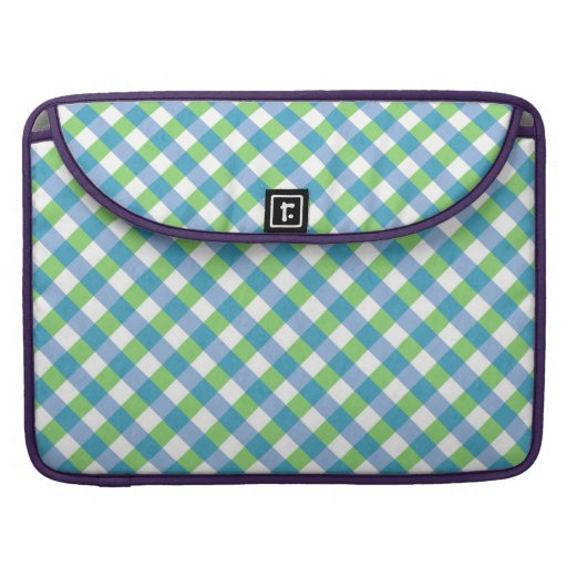 Blue n Green Gingham Pattern Checkered MacBook Pro Sleeve