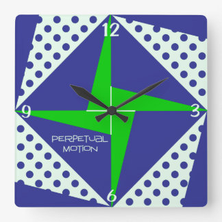 Blue n Green Perpetual Motion Quilt Block Square Wall Clock