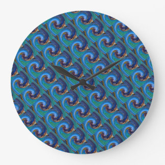 Blue N Green Tiled Abstract Peacock Clock