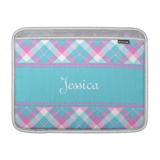 Blue n Pink Plaid MacBook Air Sleeve 2