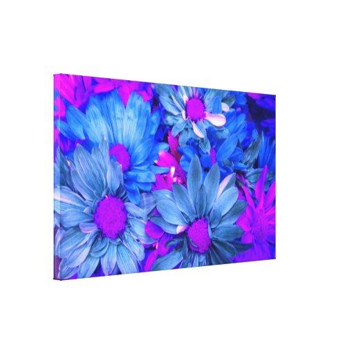 Blue N Purple Daisies Bouquet Wrapped Canvas Print