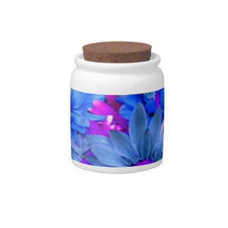 Blue N Purple Daisies Candy Jar