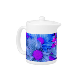 Blue N Purple Daisies Teapot