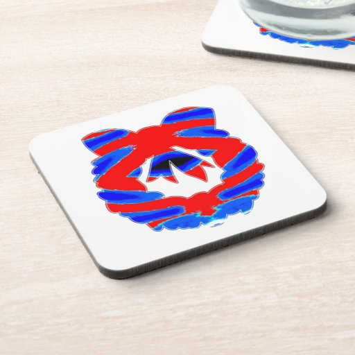 BLUE n RED: Diamond Pattern Wreath Drink Coasters