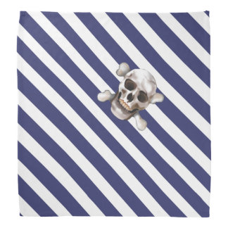 Blue 'n White Pirate Stripes w' Skull & Crossbones Bandana