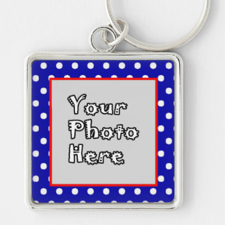 Blue n White Polka Dots Red Trim Silver-Colored Square Keychain