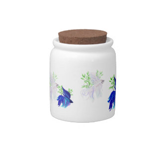 Blue 'n' White Siamese Fighting Fish Cookie Jar Candy Jar