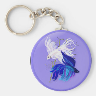 Blue 'n' White Siamese Fighting Fish Keychains