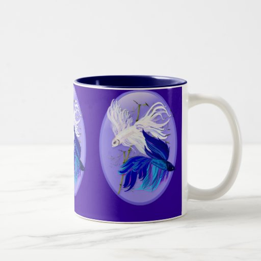 Blue 'n' White Siamese Fighting Fish Mugs