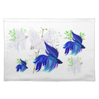 Blue 'n' White Siamese Fighting Fish Place Set Placemat