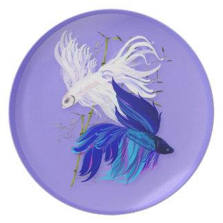 Blue 'n' White Siamese Fighting Fish Plates