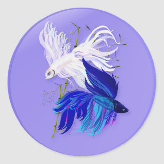 Blue 'n' White Siamese Fighting Fish Stickers