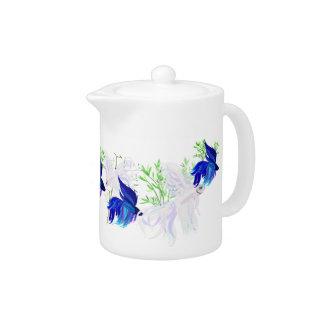 Blue 'n' White Siamese Fighting Fish Tea Pot
