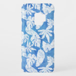 "Blue n White Tropical Leaf Modern Watercolor Case-Mate Samsung Galaxy S9 Case<br><div class=""desc"">A clean bright sky blue watercolor background sets off hand drawn white tropical leaves in a modern style.   Copyright,  Audrey Jeanne Roberts,  all rights reserved.</div>"