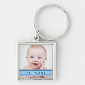 Blue Name Baby Photo Template Keychain