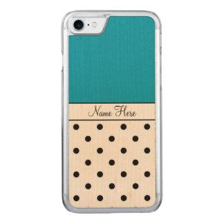 Blue Name, Black Polka Dots Carved iPhone 7 Case