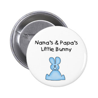 Blue Nana's and Papa's Little Bunny Pinback Buttons