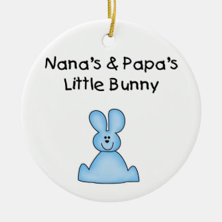 Blue Nana's and Papa's Little Bunny Ornament