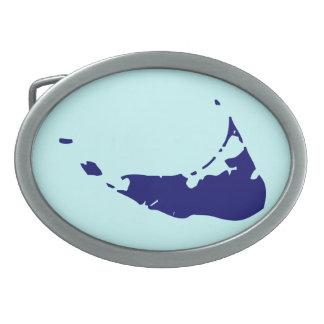 Blue Nantucket Island Oval Belt Buckle