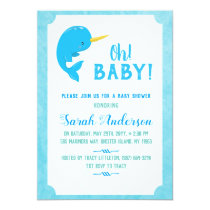 Blue Narwhal Baby Shower Card