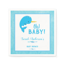 Blue Narwhal Baby Shower Napkin
